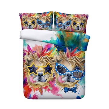 3D Watercolor Dogs with Glasses Printed 4-Piece Bedding Sets/Duvet Covers