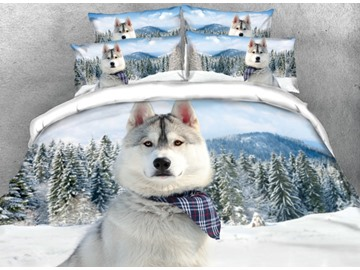 Vivilinen Alaska Dog with Tie in Snowy Jungle Printed 4-Piece 3D Bedding Sets/Duvet Covers