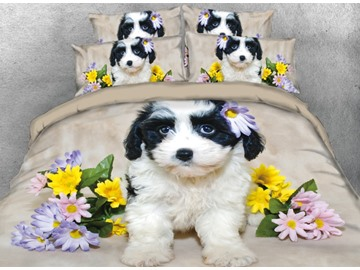 Onlwe 3D Black and White Fur Puppy with Daisy Printed 4-Piece Bedding Sets/Duvet Covers