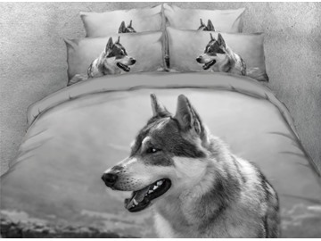Onlwe 3D Hound Dog Printed 4-Piece Black Bedding Sets/Duvet Covers