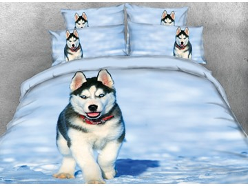 Onlwe 3D Husky with Red Necklace in the Snow Printed 4-Piece Bedding Sets/Duvet Covers