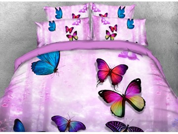 Onlwe 3D Colorful Butterflies Printed 4-Piece Purple Bedding Sets/Duvet Covers