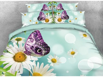 Onlwe 3D Purple Butterfly with White Daisy Printed 4-Piece Bedding Sets/Duvet Covers