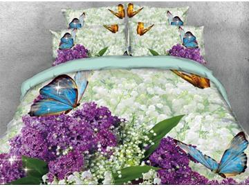 Vivilinen 3D Blue Butterfly with Purple Flower Printed 4-Piece Bedding Sets/Duvet Covers
