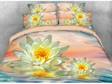 Onlwe 3D Yellow Lotus in the Lake Printed 4-Piece Bedding Sets/Duvet Covers