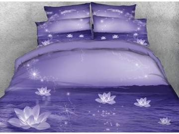 Onlwe 3D Sparkle Lotus Printed 4-Piece Purple Bedding Sets/Duvet Covers