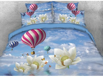 Onlwe 3D Hot Air Balloon and Lotus with Butterflies Printed 4-Piece Bedding Sets/Duvet Covers