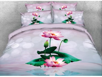 Onlwe 3D Blossom Lotus with Leaves Printed 4-Piece Bedding Sets/Duvet Covers