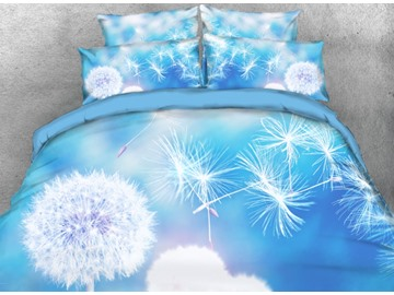 Onlwe 3D Flying Dandelion Printed 4-Piece Light Blue Bedding Sets/Duvet Covers