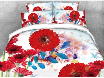 Vivilinen 3D Red Daisy Printed 4-Piece White Bedding Sets/Duvet Covers