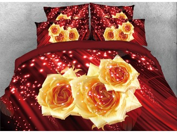 Onlwe 3D Sparkle Yellow Roses Printed 4-Piece Red Bedding Sets/Duvet Covers