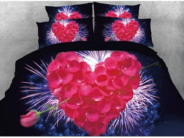 Heart Rose Petal with Firework Printed 4-Piece 3D Bedding Sets/Duvet Covers