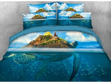 Vivilinen 3D Sea Turtle Island Blue Ocean Printed 4-Piece Bedding Sets/Duvet Covers