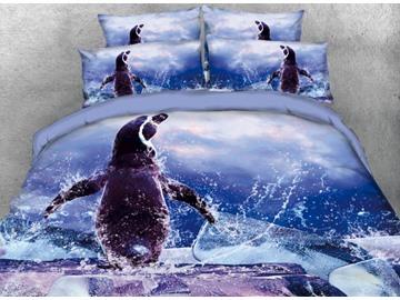 Vivilinen 3D Cute Penguin Wave Blue Ocean Ice Printed 4-Piece Bedding Sets/Duvet Covers