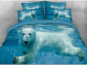 Vivilinen 3D Polar Bear in the Ocean Printed 4-Piece Bedding Sets/Duvet Covers
