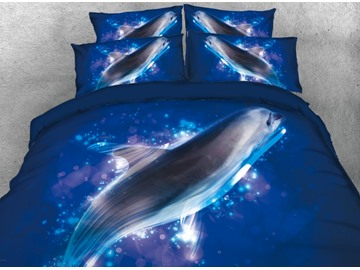 Vivilinen 3D Sea Lion in the Ocean Printed 4-Piece Bedding Sets/Duvet Covers