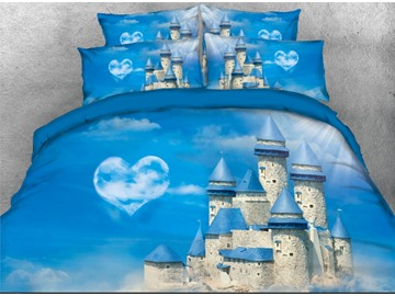 Onlwe 3D Blue Roof Castle with Heart Cloud Printed 4-Piece Bedding Sets/Duvet Covers