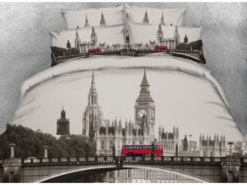 Onlwe 3D London Big Ben with Red Bus Printed 4-Piece Bedding Sets/Duvet Covers