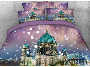 Onlwe 3D Blue Roof Architecture with Snow Printed 4-Piece Bedding Sets/Duvet Covers