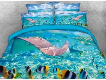 Onlwe 3D Ocean Marine Organism Printed 4-Piece Bedding Sets/Duvet Covers