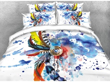 Onlwe 3D Scrawl Colorful Feather Printed 4-Piece White Bedding Sets/Duvet Covers