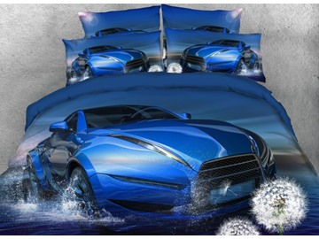 Onlwe 3D Blue Super Car on the Water with Dandelion Printed 4-Piece Bedding Sets/Duvet Covers