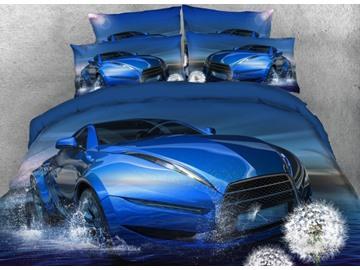Vivilinen Blue Super Car on the Water with Dandelion Printed 4-Piece 3D Bedding Sets/Duvet Covers