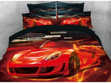Onlwe 3D Red Super Sports Car with Fire Printed 4-Piece Bedding Sets/Duvet Covers