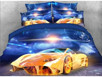 Onlwe 3D Super Sports Car under the Sky Printed 4-Piece Bedding Sets/Duvet Covers