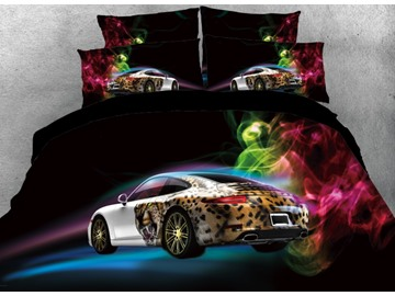 Vivilinen 3D Sports Car with Colorful Smoke Printed 4-Piece Black Bedding Sets/Duvet Covers