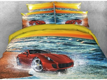Onlwe 3D Red Sports Car on the Beach Printed 4-Piece Bedding Sets/Duvet Covers
