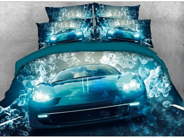 Onlwe 3D Ice Blue Sports Car Printed 4-Piece Bedding Sets/Duvet Covers