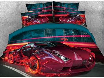 City Red Sports Car with Fire Printed 3D 4-Piece Bedding Sets/Duvet Covers