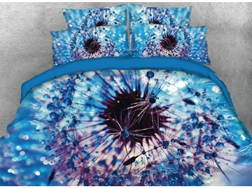 Onlwe 3D Dandelion with Rain and Dew Pattern 4-Piece Blue Bedding Sets/Duvet Covers