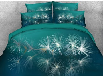 Vivilinen 3D Dispersed Dandelion Printed 4-Piece Green Bedding Sets/Duvet Covers