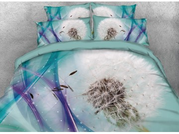 Onlwe 3D Dandelion Printed 4-Piece Bedding Sets/Duvet Covers