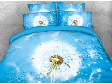 Onlwe 3D Scattered Dandelion Printed 4-Piece Blue Bedding Sets/Duvet Covers