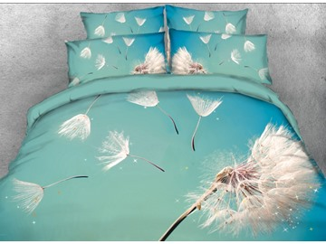 Onlwe 3D Dispersed Dandelion Printed 4-Piece Blue Bedding Sets/Duvet Covers