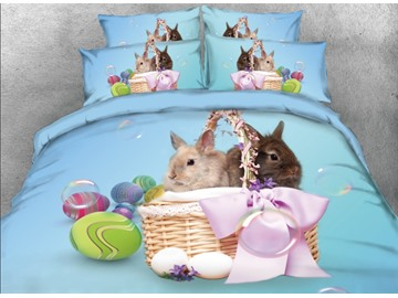 Vivilinen Rabbit on the Basket Easter Eggs Printed 4-Piece 3D Blue Bedding Sets/Duvet Covers