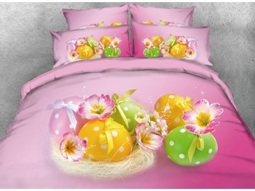 Vivilinen 3D Easter Eggs with Dots Printed 4-Piece Pink Bedding Sets/Duvet Covers
