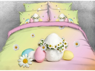 Onlwe 3D Easter Eggs Printed 4-Piece Pink and Yellow Bedding Sets/Duvet Covers