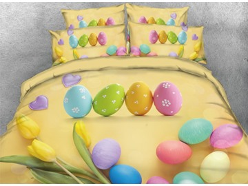 Onlwe 3D Colorful Easter Eggs with Tulip Printed 4-Piece Yellow Bedding Sets/Duvet Covers