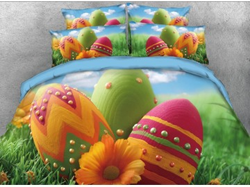 Onlwe 3D Colorful Easter Eggs on the Grass Printed 4-Piece Bedding Sets/Duvet Covers