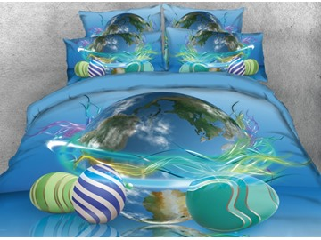 Onlwe 3D Easter Eggs around the Earth Printed 4-Piece Bedding Sets/Duvet Covers