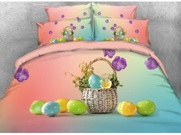 Vivilinen 3D Colorful Easter Eggs with Flower Basket Printed 4-Piece Bedding Sets/Duvet Covers