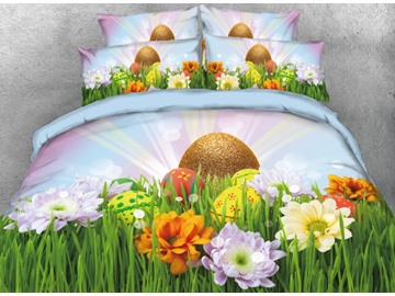 Vivilinen 3D Easter Eggs with Flowers and Grass Printed 4-Piece Bedding Sets/Duvet Covers