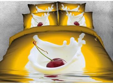 Vivilinen 3D Cherry in the Milk Printed 4-Piece Yellow Bedding Sets/Duvet Covers