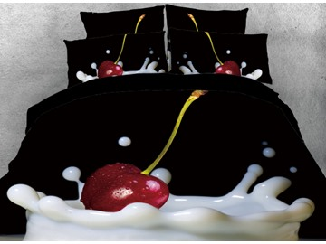 Onlwe 3D Cherry in the Milk Printed 4-Piece Black Bedding Sets/Duvet Covers