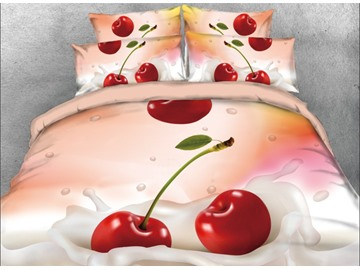 Onlwe 3D Cherry on the Milk Printed 4-Piece Bedding Sets/Duvet Covers