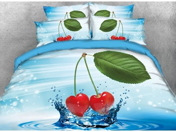 Onlwe 3D Cherry on the Water with Leaf Printed 4-Piece Blue Bedding Sets/Duvet Covers